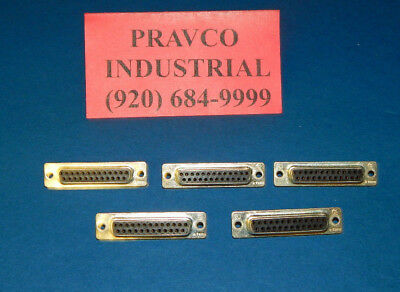 Lot of 5 Tyco Silver 25 Pin D-Sub Connector