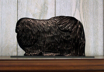 Pekingese Dog Figurine Sign Plaque Display Wall Decoration Black