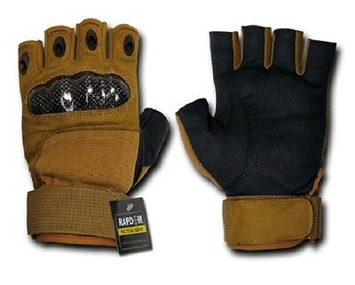 US Half Finger Army Military Hard Knuckle Finger Handschuhe Gloves coyote M