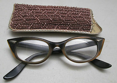 Vintage Womens Eyeglasses Bausch Lomb 5 1/2 Cat Eye Black & Rootbeer Brown wCase