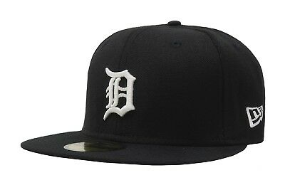 New Era 59Fifty MLB Baseball Cap Detroit Tigers Black White Fitted Hat 5950