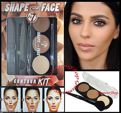 W7 Shape Your Face Contouring Cheeks Definer Highlighter Bronzer Kit with brush