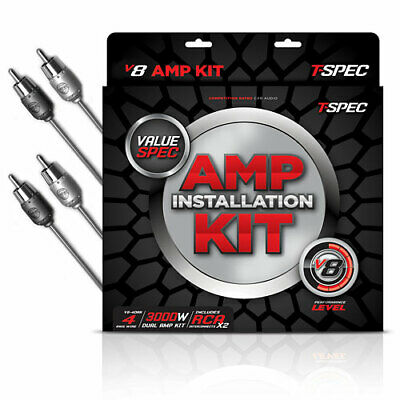 T-Spec V8-4DAK 4 Awg 3000W Rated Dual Amplifier Installation Kit With Rca Cables
