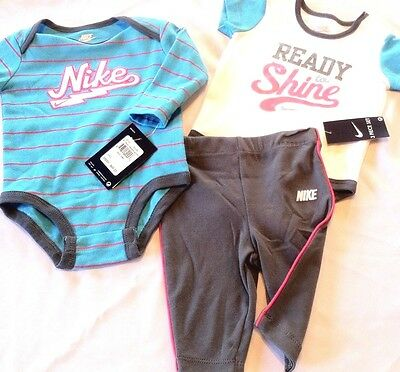 3 - 6 months Girls NIKE 3PC set LS & SS shirt bodysuit tights pants armory slate