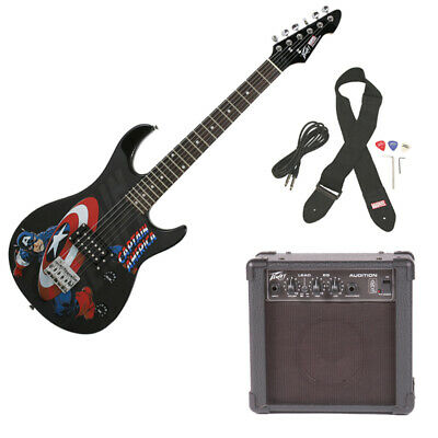 New Peavey Rockmaster 3/4 Student Captain America Electric Guitar & Amp Package