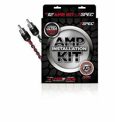 T-Spec V12-RAK4 V12 4 Ga 2400W Amp Kit With Noise Rejecting Rca Cable (V12-4Rak)