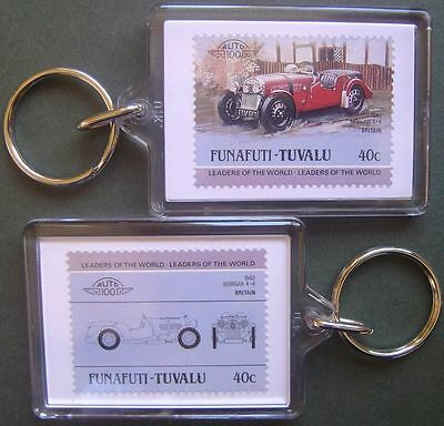 1948 MORGAN 4/4 4+4 Sports Car Stamp Keyring (Auto 100 Automobile)