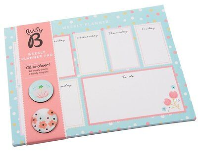 NEW! Busy B My Weekly Planner Organiser Pad Floral + Magnets