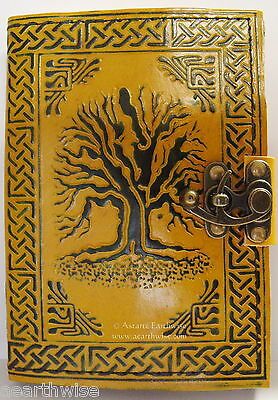 TREE OF LIFE LEATHER JOURNAL Witch Wicca Pagan Book of Shadows Goth Spell