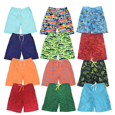 Kids Elasticated Swim Summer Shorts  Hawiian Floral Print Beach Mesh Lined