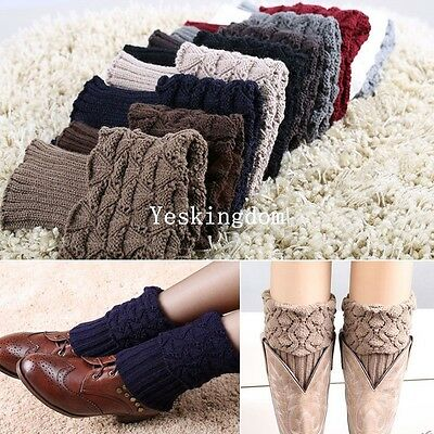 Women Ladies Winter Crochet Boot Cuffs Shell Knit Toppers Boot Socks Leg Warmers
