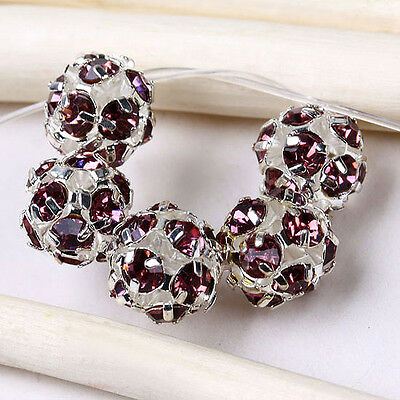 5 pcs 8mm Charm Light Purple Crystal Ball Spacer Beads Jewelry Findings
