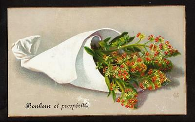 1887 signed CM  orange bouquet happiness & prosperity victorian greeting card