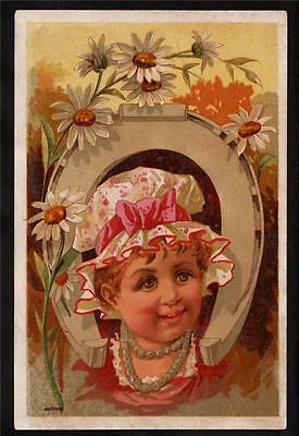 bufford child in horseshoe victorian greeting card