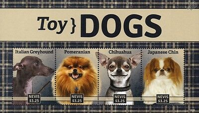 Toy Dogs Stamp Sheet (Italian Greyhound/Pomeranian/Chihuahua/Japanese Chin)