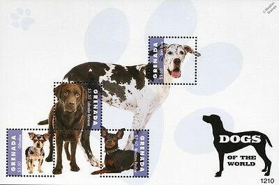Dog Stamp Sheet (Labrador Retriever/Great Dane/Chihuahua/Miniature Pinscher)