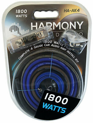 Harmony Audio HA-AK4 Car Stereo 4 Gauge 1800W Amp Amplifier Install Kit - Nickel
