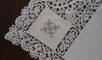 Vintage Linen Table Runner Schiffli French Lace Taupe Embroidery 34""