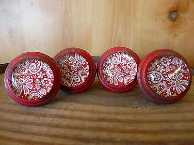 4 RED-WHITE LACE GLASS DRAWER CABINET PULLS KNOBS VINTAGE restoration hardware