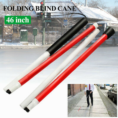 46'' 116cm 4 Part Folding Blind Guide Cane Walking Stick Wrist Strap & Reflector