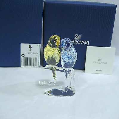 Swarovski Budgies, Love Birds Yellow & Lavender Crystal Figurine MIB - 5004725