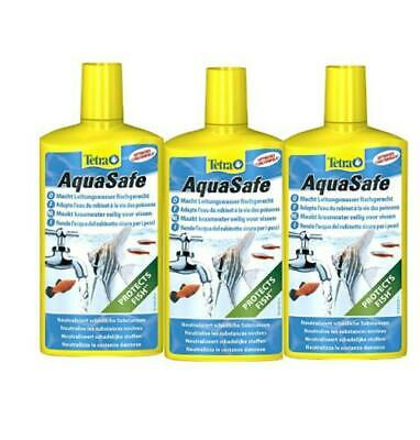 3x 500ml TETRA AQUASAFE TAP SAFE WATER CONDITIONER DECHLORINATOR FISH TANK