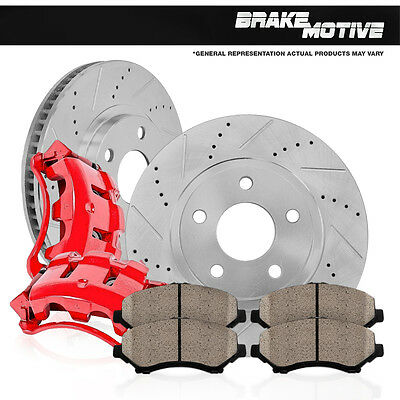 Front Red Brake Calipers and Rotors & Pads Set HONDA ACCORD COUPE SEDAN ACURA CL