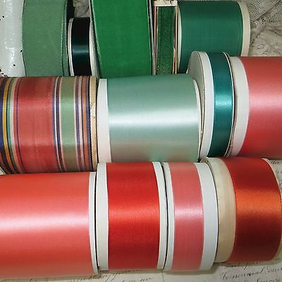 13 Spool Lot Vtg Ribbon Lot French Gold Jadite Green Millinery Trim Cocarde Hat