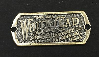 SOLID ANTIQUE  BRASS  WHITE CLAD Ice Box Name Plate