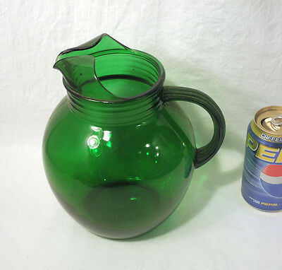 Vintage Anchor Hocking Forest Green Ball Pitcher with Ice Lip Depression Glass