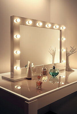 Diamond X Gloss White Hollywood MakeupMirror with Daylight Dimmable LED k313CW