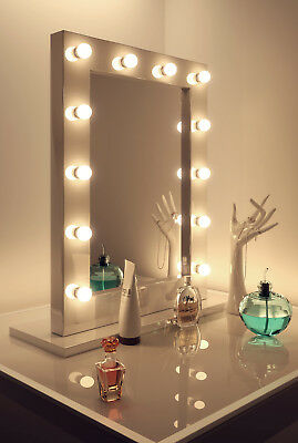 Diamond X Gloss White Hollywood Makeup Mirror Warm White Dimmable LED k113WW