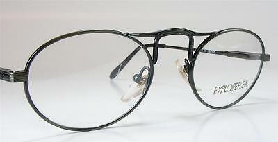 Retro Dark Gunmetal Oval Art Deco Neo-Industrial Wire Vintage NOS Eyeglass Frame