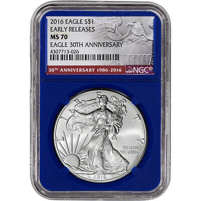 2016 American Silver Eagle - NGC MS70 - Early Releases - 30th - Blue Core Holder
