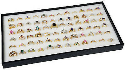 72 Ring White Display Insert w/ Black Plastic Travel Stackable Jewelry Tray