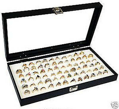 Ring Display Case Glass Top Holds 72 Rings White Foam Insert Organizer Travel