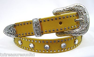 NOCONA belts girls western accessories rhinestones yellow leather belt S 32 NWT!