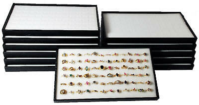 12 Black Plastic Stackable Display Travel Trays w/ White Ring Pad Organizers