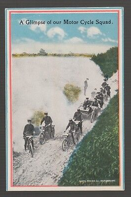 "[58459] OLD POSTCARD WWI ERA ""A GLIMPSE of OUR MOTOR CYCLE SQUAD"""