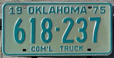 Oklahoma 1975 COMMERCIAL TRUCK license plate!