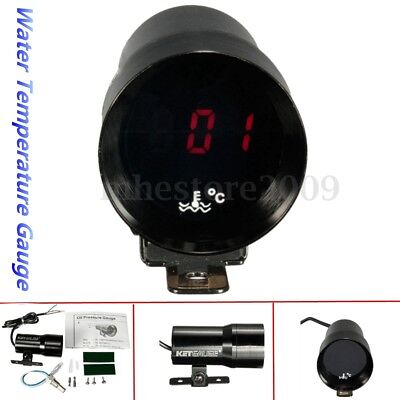 37mm Black Car Digital LED Water Temp Temperature Gauge Meter Pointer + Sensor