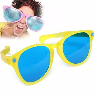 Large Coloured Comedy Funny Joke Glasses Sunglasses For Clown Gag Fancy Dress