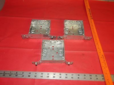 """Lot of 3 Hubbell Raco 4"""" Square Box with Clamps and Brackets"""