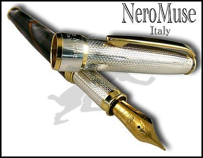 SILVER & Resin Fountain pen Stylo M Nib Pelikan Cartridge Handmade