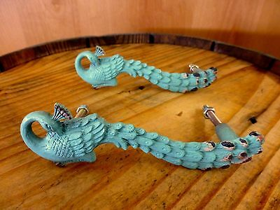 2 BLUE PEACOCK BIRD DRAWER CABINET PULL HANDLE KNOB vintage shabby chic hardware
