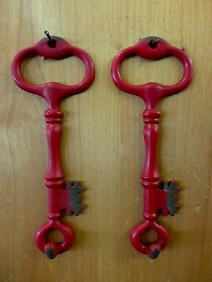 "2 RED ANTIQUE-STYLE METAL SKELETON KEY HOOKS 6.25"" primitive vintage wall decor"