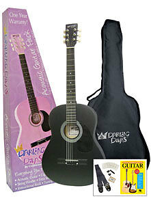 "Darling Divas 36"" Children's Steel-String Acoustic Guitar for Girls - Black"