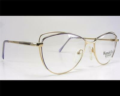 Vintage Violet Gold Women's Wire Rim Classic Cateye Eyeglass Frame 55-17 1980's