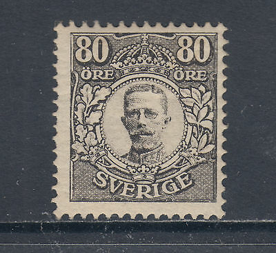 Sweden Sc 92 MLH. 1918 80o black King Gustaf V, Forgery, F-VF appearing