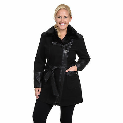 Excelled Women's Plus Faux Wool Belted Jacket